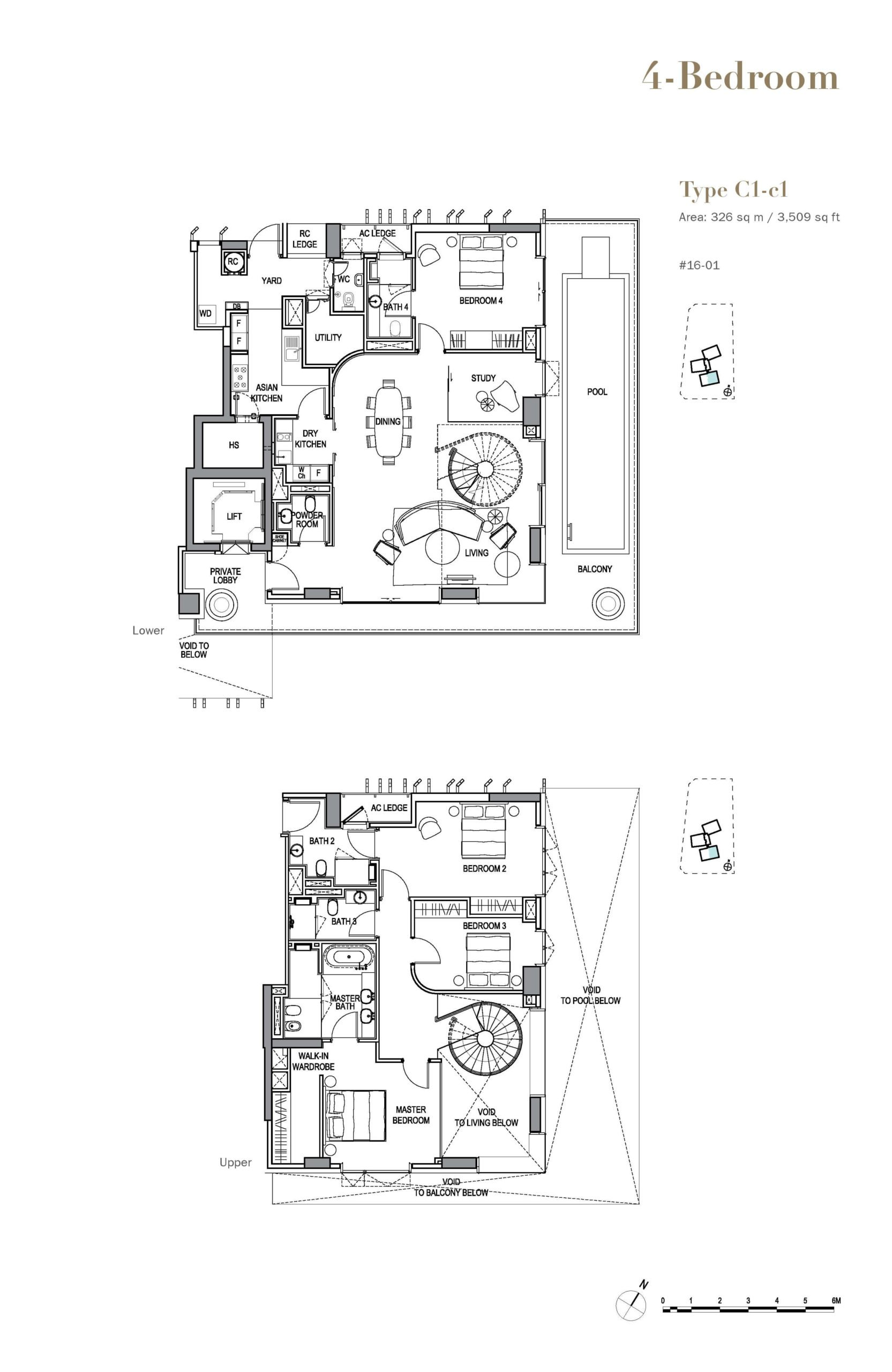 3 orchard by-the-park floor plan water 4 Bedroom