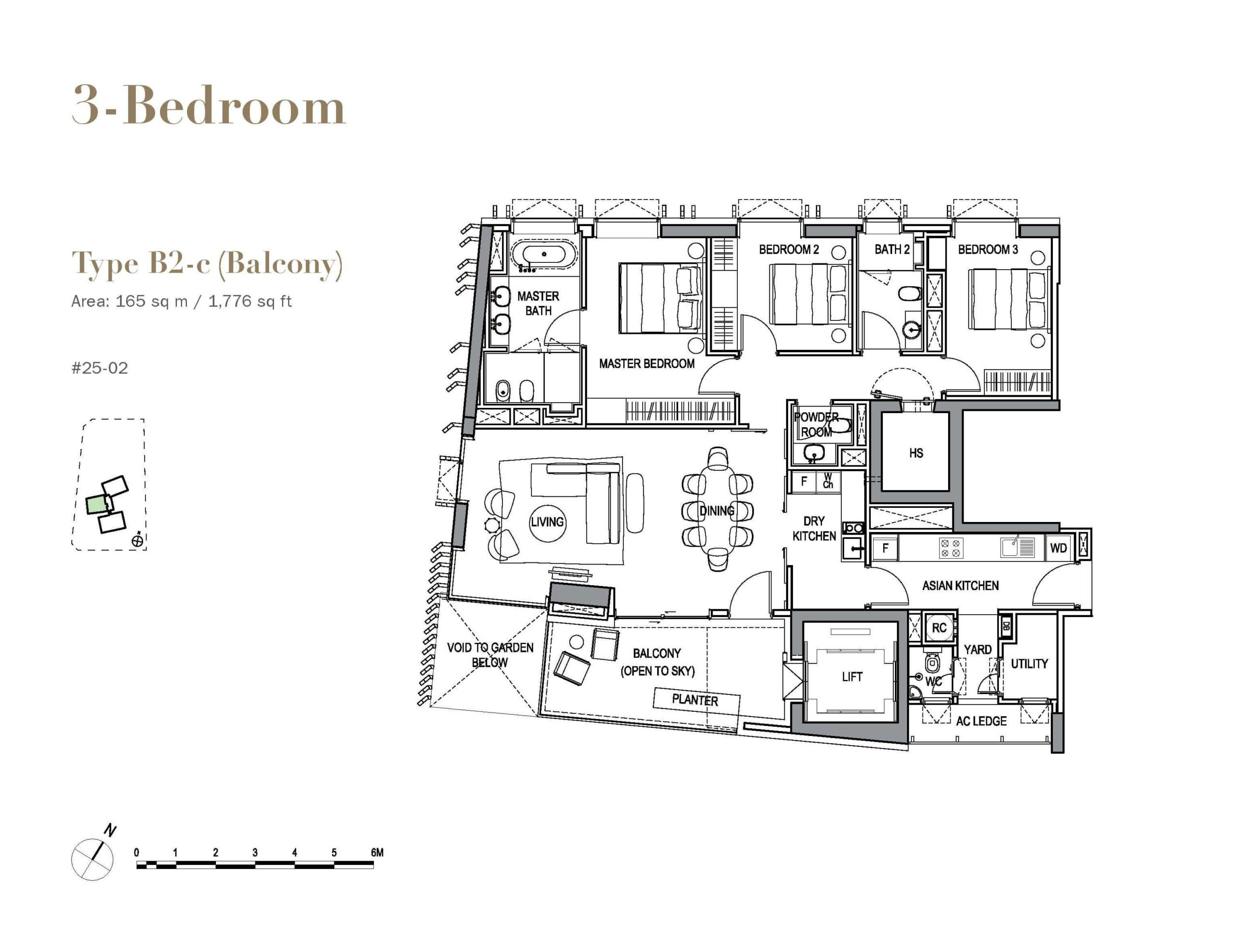 3 orchard by the park floor plan wilderness 3 Bedroom B2c scaled
