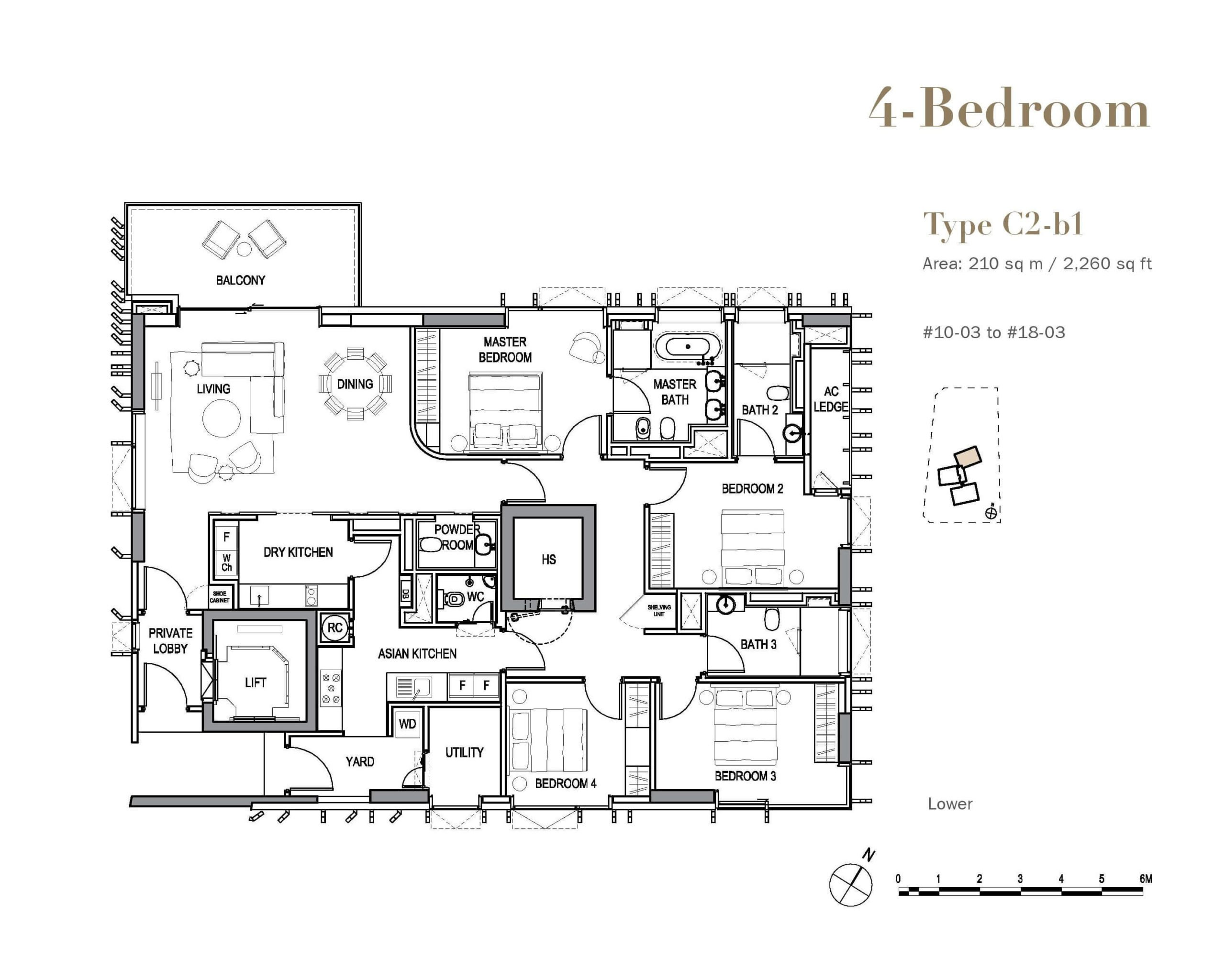 3 orchard by the park floor plan wood 4 bedroom C2b1 scaled